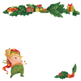 Cartão de natal com azevinho e elfo de despertar