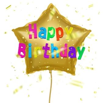Cartão de natal com balão de ar de festa feliz aniversário com confete