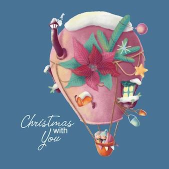 Cartão de natal com balão de desenho animado e amor caple