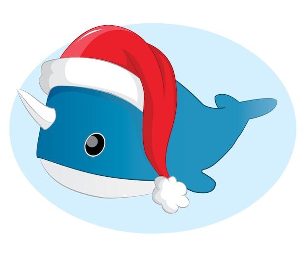 Cartão de natal com baleia bebê azul fofo no chapéu de papai noel em fundo escuro. ilustração vetorial.