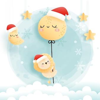 Cartão de natal com bebê leão e balão de lua cheia, bosque natal