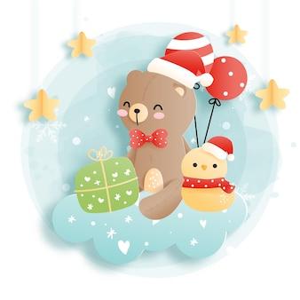 Cartão de natal com bebê urso, floresta de natal