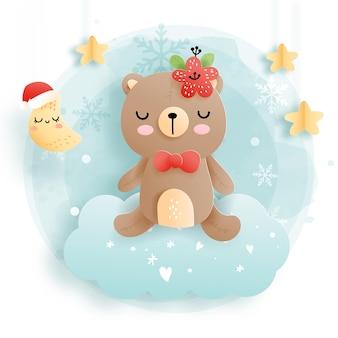 Cartão de natal com bebê urso na nuvem, floresta. natal