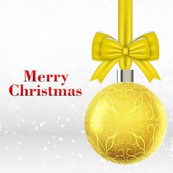 Cartão de natal com bola de natal amarela