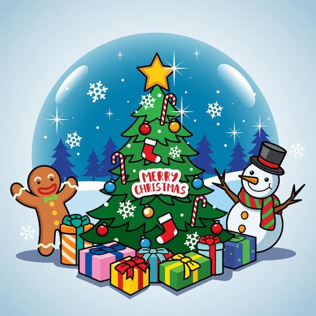 Cartão de natal com bola de neve
