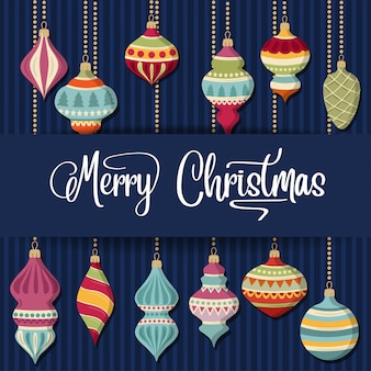 Cartão de natal com bolas christamas e desejos