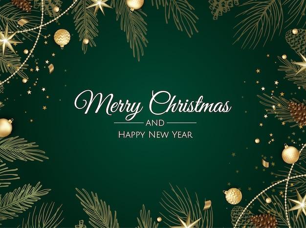 Cartão de natal com bolas de natal, floco de neve e confetes