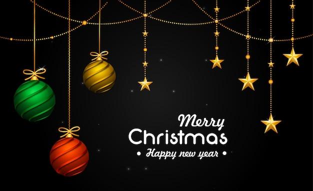 Cartão de natal com bolas decorativas 3d e estrelas reflexivas
