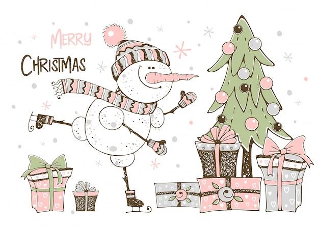 Cartão de natal com boneco de neve bonito árvore de natal e presentes.