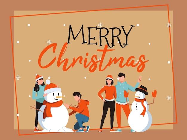 Cartão de natal com boneco de neve e casal