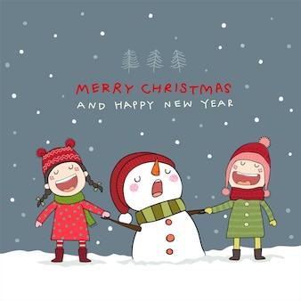 Cartão de natal com boneco de neve e crianças em cena de neve de natal