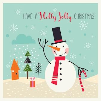 Cartão de natal com boneco de neve em uma paisagem de inverno