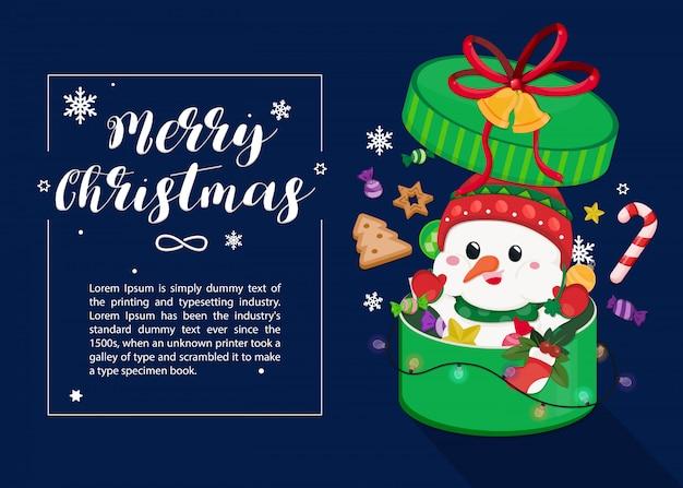 Cartão de natal com boneco de neve, enfeite de natal e floco de neve em caixa de presente grande.