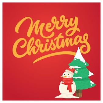 Cartão de natal com boneco de neve engraçado