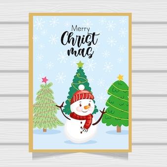 Cartão de natal com boneco de neve entre paisagem de inverno