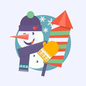 Cartão de natal com boneco de neve segurando fogos de artifício
