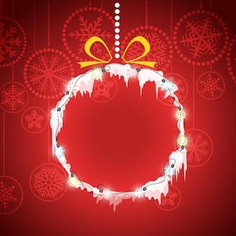Cartão de natal com bugiganga de natal. modelo de banner de festa de natal