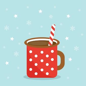 Cartão de natal com cacau e palito de natal chocolate quente de natal em um fundo azul com sta