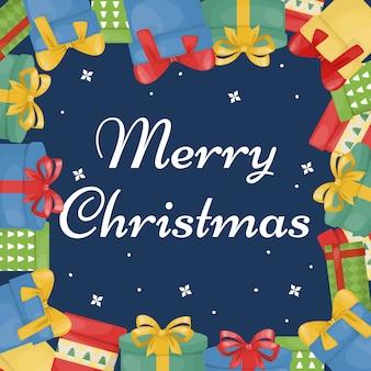 Cartão de natal com caixas de presente. saudação cartão de festa de ano novo. presente caixas de temporada de férias de inverno. cartão postal surpresa.