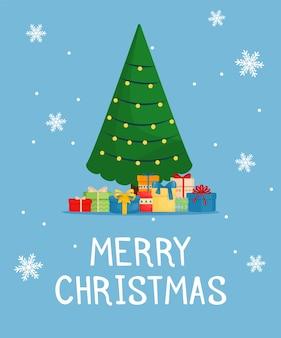 Cartão de natal com caixas de presente. saudação cartão de festa de ano novo.