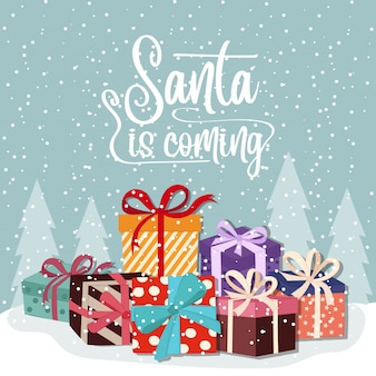 Cartão de natal com caixas de presente
