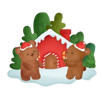 Cartão de natal com casa de aquarela e ursos na floresta.