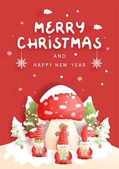 Cartão de natal com casa de cogumelos e gnomos
