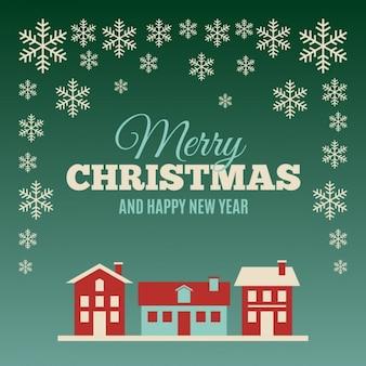Cartão de natal com casas e flocos de neve