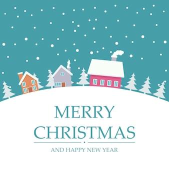Cartão de natal com casas na neve do inverno