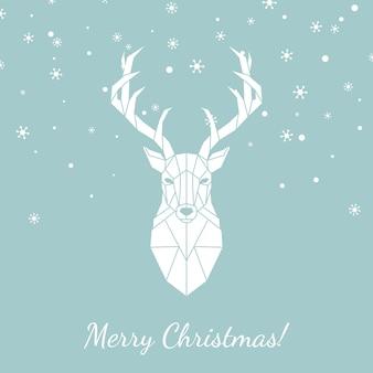Cartão de natal com cervos geométricos.