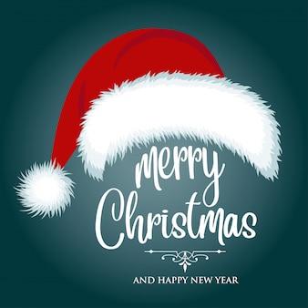 Cartão de natal com chapéu de papai noel e desejos