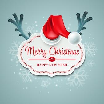 Cartão de natal com chifres de chapéu e rena de papai noel