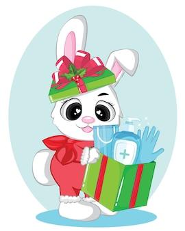Cartão de natal com coelho e caixa de presente.