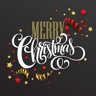 Cartão de natal com confete e fitas, cartão de felicitações
