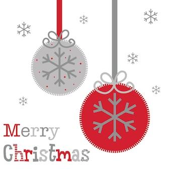 Cartão de natal com decoração bugiganga vermelha e prata