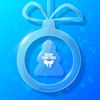 Cartão de natal com decoração de bola de natal em estilo vidro
