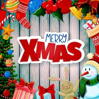 Cartão de natal com decorações