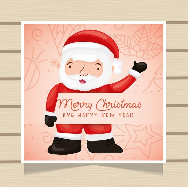Cartão de natal com desenho de papai noel
