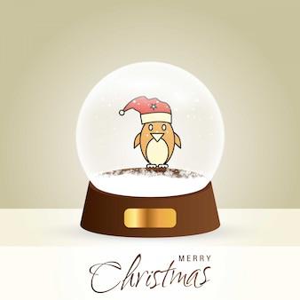 Cartão de natal com design elegante criativo e globo também com vetor de fundo dourado