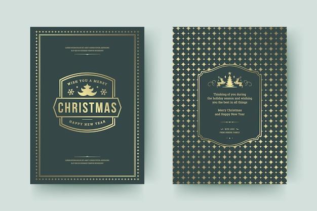 Cartão de natal com design tipográfico vintage e decorações ornamentadas com desejos de férias de inverno