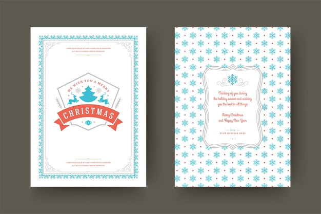 Cartão de natal com design tipográfico vintage símbolos de decoração ornamentada com desejos de férias de inverno