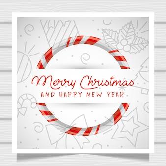 Cartão de natal com doce doce.