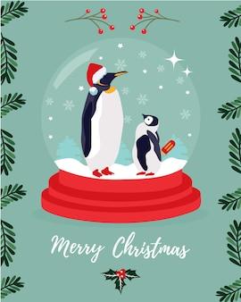 Cartão de natal com dois pinguins-imperadores.