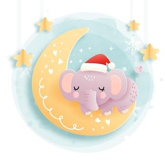 Cartão de natal com elefante bebê dormindo na meia-lua, floresta. natal