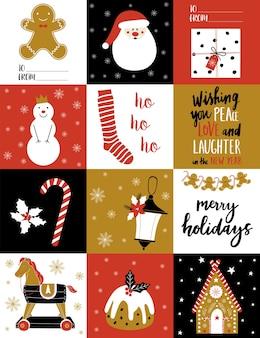Cartão de natal com elementos de inverno.