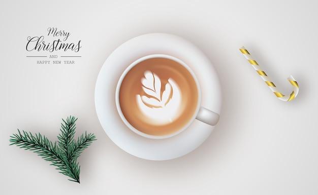Cartão de natal com elementos decorativos leves e realistas. fundo de natal