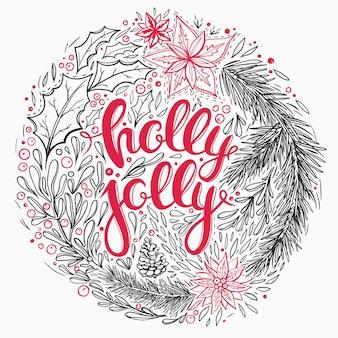 Cartão de natal com elementos florais e letras desenhadas à mão.
