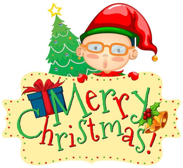 Cartão de natal com elf e árvore