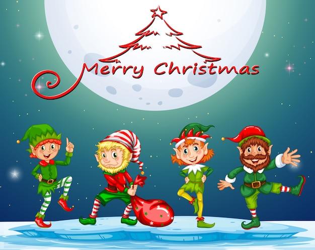 Cartão de natal com elf em lua cheia