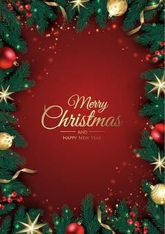 Cartão de natal com enfeites de árvore de natal, galhos de pinheiro, floco de neve e confetes